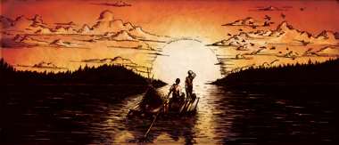 Illustration of Huckleberry Finn and Jim on the Mississippi