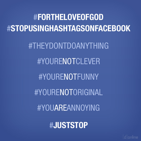 Stop using hashtags on Facebook