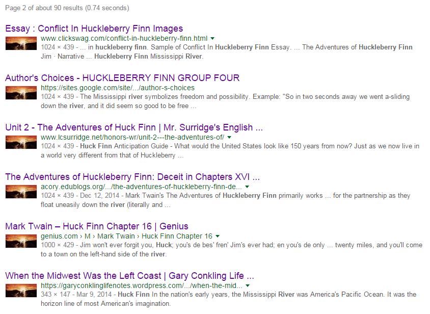 """""""Huck Finn River"""" Google Search Results"""