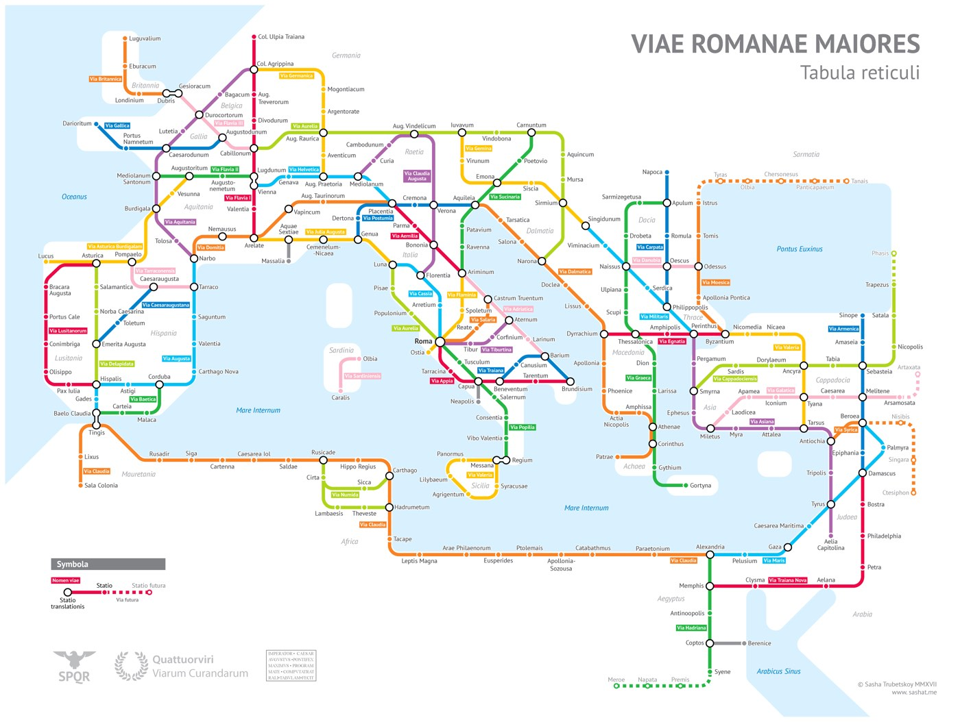 A subway-style map of Roman Empire roads circa 125 A.D.
